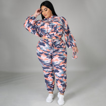 Plus Size Camo Print Hooded 2 Piece Pants Set (With Mask) NNWF-7305