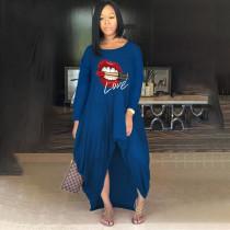 Plus Size Lip Print Long Sleeve Irregular Loose Maxi Dress YFS-10026