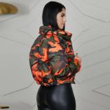 Winter Warm Camo Print Zipper Coat GLF-10044