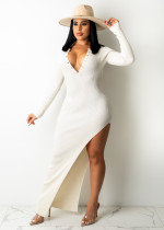Solid Ribbed Backless High Split Slim Maxi Dress TR-1176