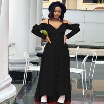 Sexy Off Shoulder Ruffle Big Swing Maxi Dress MEI-9205
