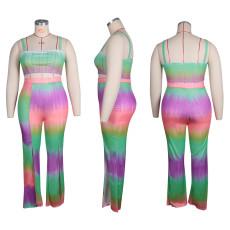 Plus Size Gradient Printed Cami Top+Split Pants 2 Piece Sets HEJ-Y6065
