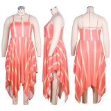 Plus Size Sexy Printed Irregular Sling Long Dress HEJ-J5042