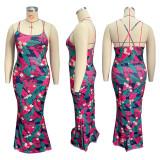 Plus Size Floral Print Cross Strap Mermaid Maxi Dress HEJ-S6054