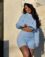Solid Hooded Long Sleeve 2 Piece Shorts Set WXIN-019