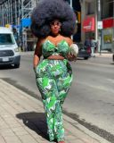 Plus Size Sexy Printed Cami Top And Pants 2 Piece Sets HEJ-S6060