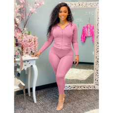 Solid Sports Hooded Zipper Long Sleeve 2 Piece Pants Sets OXF-8091