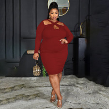 Plus Size Solid Long Sleeve Bodycon Dress PHF-13257