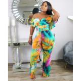 Fashion Print Off-shoulder Jumpsuit With Belt ME-Q576