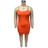 Plus Size Solid Drawstring Ruched Sling Bodycon Dress HEJ-J6049