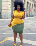 Plus Size Contrast Color Short Sleeve Bodycon Dress (Without Belt) HEJ-J6050