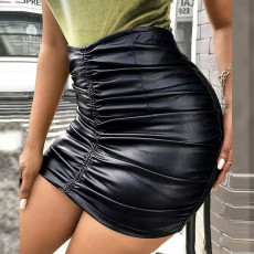 Black PU Leather High Waist Ruched Slim Skirt AWF-5902