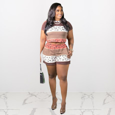 Plus Size Printed Short Sleeve Casual 2 Piece Shorts Set HEJ-S6055