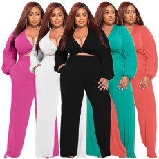 Plus Size Solid Knotted Top And Pants 2 Piece Sets LP-66315