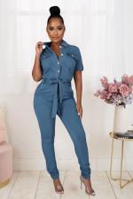 Denim Short Sleeve Sashes Jeans Jumpsuit LX-3510