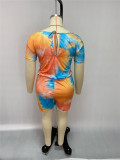 Plus Size Printed Short Sleeve Romper (Without Mask) HEJ-J6014