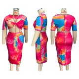 Plus Size Tie Dye Crop Top Midi Skirt 2 Piece Sets HEJ-S6058