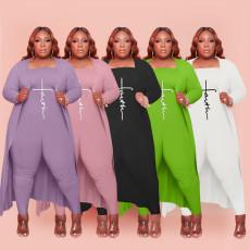 Plus Size Full Sleeve Long Cloak+Tube Jumpsuit 2 Piece Sets HBF-4048