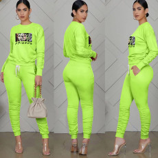 Casual Sports Printed Long Sleeve 2 Piece Pants Set TE-2016