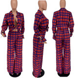 Casual Plaid Blouse And Wide Leg Pants 2 Piece Sets AMLF-1831