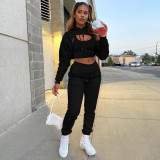 Solid Cropped Hoodie+Tank Top+Pants 3 Piece Sets CH-8193