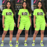 Casual Printed T Shirt And Shorts 2 Piece Sets TE-2015