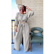 Solid Long Sleeve Top And Strap Wide Leg Pants 2 Piece Sets ASL-6511