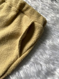 Solid Plush Hooded Long Sleeve 2 Piece Pants Set XMEF-X1052