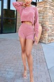 Solid Knitted Sweater Top And Shorts 2 Piece Sets XMEF-X1013