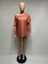 Casual Loose Striped Long Sleeve Pullover Top XMEF-X1014
