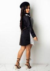 Houndstooth Print Patchwork Long Sleeve Shirt Dress ZSD-0425