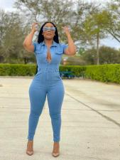 Denim Short Sleeve Casual Jeans Jumpsuit LX-3513