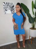 Casual V Neck Leopard Pocket Short Sleeve Dress SFY-H143
