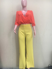 Solid V Neck 3/4 Sleeve Top And Pants 2 Piece Sets ORY-5209
