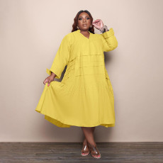 Plus Size Solid V Neck Long Sleeve Loose Midi Dress QSF-51049