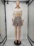 Plaid Long Sleeve Crop Top+Pleated Mini Skirt 2 Piece Sets APLF-5087