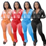 Solid Velvet Hooded Long Sleeve Flare Pants 2 Piece Sets YD-8527