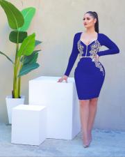 Sexy V Neck Long Sleeve Bodycon Dress LA-3174
