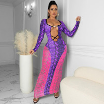 Snake Skin Print Hollow Out Long Sleeve Maxi Dress TR-1180
