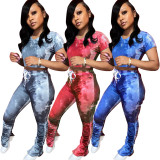 Casual Printed Short Sleeve Stacked Pants 2 Piece Sets JH-276