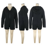 Solid Plush Hooded Long Sleeve Zipper Romper TE-4334