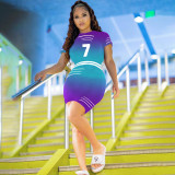 Casual Gradient Printed Short Sleeve Mini Dress NSFF-9002