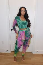 Casual Printed Long Sleeve Two Piece Pants Set JH-278