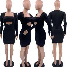 Black Long Sleeve Bodycon Dress+Tube Top 2 Piece Sets XSF-6071