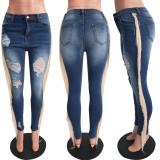 Plus Size Denim Ripped Hole Tassel Skinny Jeans Pants SH-S3658