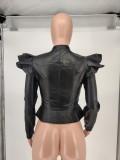 Black PU Leather Ruffle Long Sleeve Zipper Jacket WSM-A5043