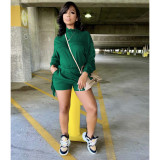 Solid Tassel Long Sleeve Two Piece Shorts Set YIY-5318