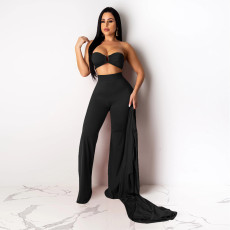 Solid Long Cloak+Tube Top+Pants 3 Piece Sets SH-390215