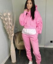 Casual Patchwork Hooded Ruched 2 Piece Pants Set ZNF-9113
