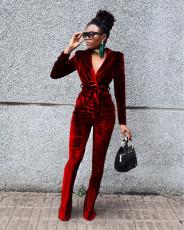 Solid Velvet Long Sleeve Coat+Flared Pants 2 Piece Sets TR-1182